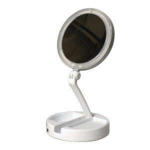 Floxite New 12x Led Lighted Folding Vanity and Travel Mirror