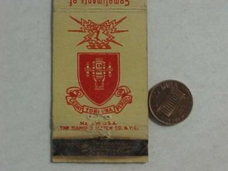 1940s WWII Era Fort Sill Oklahoma Officers Mess US Army Matchbook
