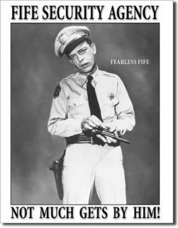 Tin Bar Sign Barney Fife Security Andy Griffith Show