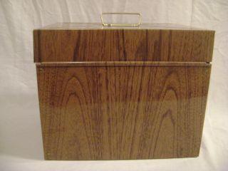PortaFile Wood Grain Metal Safe Storage Box Home Office File w/ Key