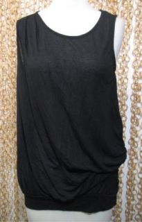 FLUXUS Anthropologie Black Sleeveless Draped Shirt Blouse sz M