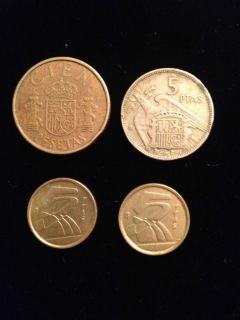 Coins   100 Pesetas Juan Carlos, 5 Pesetas Francisco Franco Caudillo