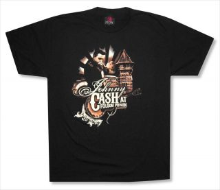 JOHNNY CASH   FOLSOM SEPIA PRISON BLACK T SHIRT   NEW ADULT X LARGE