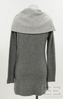 Forte Cashmere Gray Cashmere Funnel Neck Cardigan Size Small