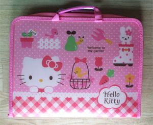 Hello Kitty Pink PVC Cosmetic Pen Folder Bag Zipper Case New
