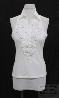 Anne Fontaine White Ruffle Sleeveless Button Front Blouse Size 40