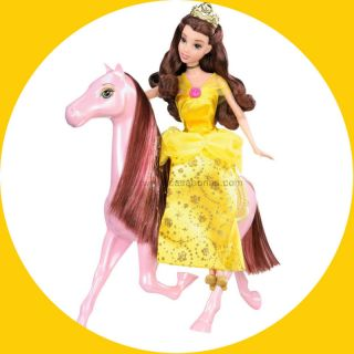 Free Shipping Disney Princess Belle Doll Royal Castle Horse Girls Toy