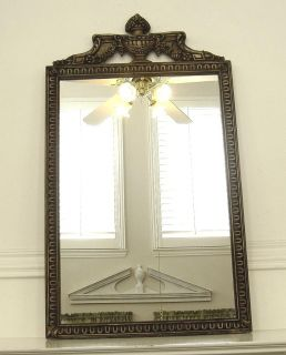 Antique Gilt Wood Frame Glass Mirror with Carved Urn Floral Topper