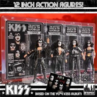 Kiss First Album Retro 12 inch Poseable Action Figures Series 2 Set of