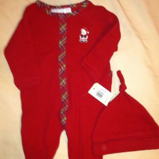 First Impressions Baby Boy Red Waffle Weave Two Piece Christmas Set Sz