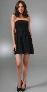 Theory Frederica Strapless Black Silk Cocktail Dress XS 2 $395