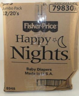 Fisher Price Happy Nights Baby Diapers 12 Packs of 20 Size 3 $65 Value