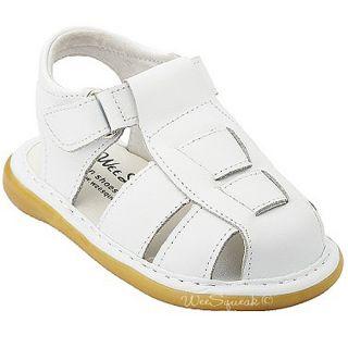 Wee Squeak Toddler Boys White Fisherman Sandals Shoes 6