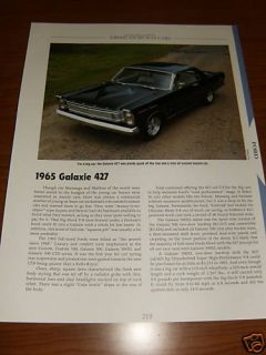 1965 Ford Galaxie 427 Specs Info Photo 65 500 500XL XL