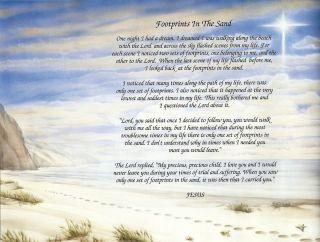 Footprints Footprints in the Sand Poem Print