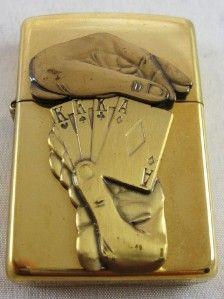 Lighter SURPRISE Royal Flush, Brass, New in Box, COA Barrett Smythe