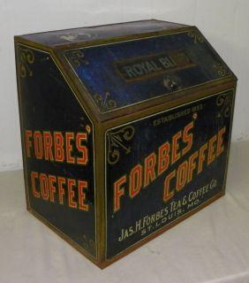 Forbes Coffee Advertising Large Tin Dispensing Bin Country Store Item