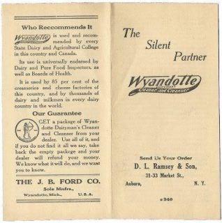 Wyandotte Dairy Cleanser Cleaner Milking Machine Vintage Farm Brochure