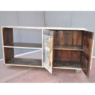 Reclaimed Wood Rustic Open Back Storage CD DVD TV Stand Media Center