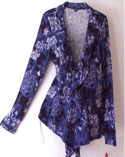 NEW French Blue Rose Ruffle Sweater Cardigan Duster Topper Top 12 14 L