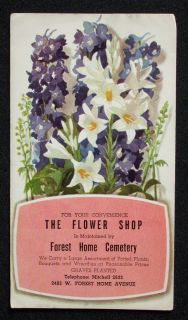 1950s Advertising Flower Shop Forest Home Milwaukee Wi
