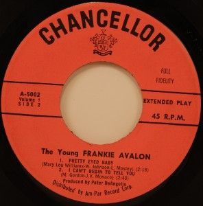 The Young Frankie Avalon EP 45 Chancellor VG 59 Teen