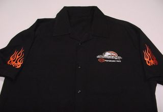 Performance Parts Motorcycle Biker Flame Bowling Work Shirt XL