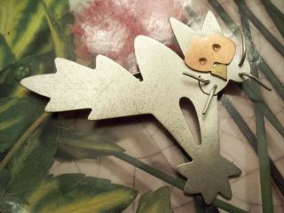 Vintage Sterling Silver Laurie Flannery Spazzed Out Kitty Cat Pin