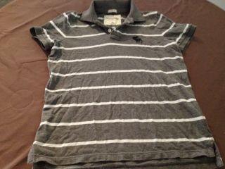 Abercrombie Kids Boys Grey Striped Muscle Polo Shirt XL