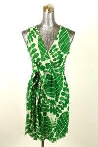 Green Floral Sweet Pea Stacy Franti V Neck Sleeveless Dress Tie Waist