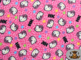 Fleece Printed Hello Kitty Pink Stars Fabric 58 Wide Sold by The