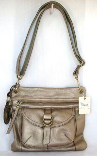 Fossil Sasha Metallic Champagne Leather Shoulder Crossbody Handbag