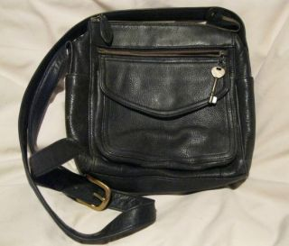 Vintage Fossil Purse Handbag   Navy Blue Leather with Key   75082
