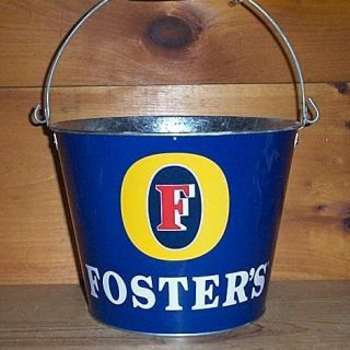 FOSTERS AUSTRALIAN BEER 5QT METAL BEER ICE BUCKET BAR COOLER EUC