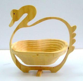 Indian Wooden Duck Design Fruit Basket Unique Stylish Look Racks Home