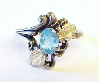 Sterling Silver Aquamarine 12kt Black Hills Gold Ring Sz 7