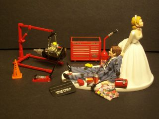 AUTO MECHANIC MAC Tool Set W Engine Stand WEDDING CAKE TOPPER FUNNY