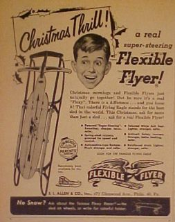 1953 Flexible Flyer Sled Racer Vintage Christmas Thrill Kids Toy Ad