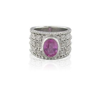 EGL Certified 18K Gold Pink Sapphire Diamond Ring FV12A