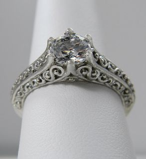 Round Antique Style Filigree Solitaire Engagement Ring 14k Gold