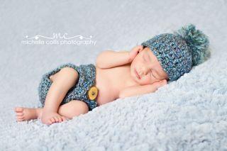 Photography Prop   Newborn Baby Diaper Cover & Hat Set Blue   Handmade