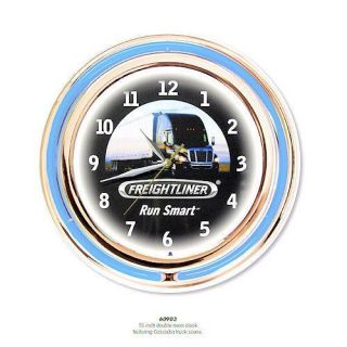 Freightliner 15 Double Neon Wall Clock Truck Tractor Trailer New