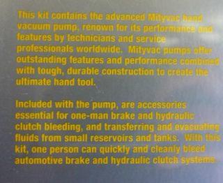 Mity Vac MTY8020 Brake Bleeding Kit Brand New in Package