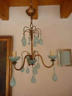 Antique French Blue Opaline Romantic Chandelier 3 Ligths