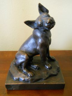 ANTIQUE PAUL HERZEL SIGNED FRENCH BULL DOG MICKEY BRONZE POMPEIAN