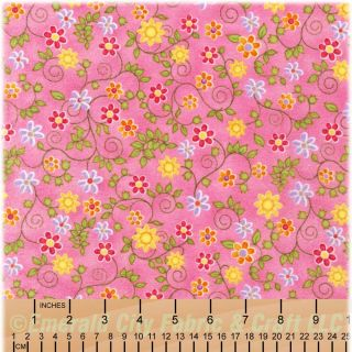 Robert Kaufman Phoebe Small Pink Floral Flannel Fabric