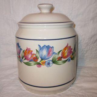 Fresh Cut Flour Canister Ceramic Cream Beige Blue Flowers