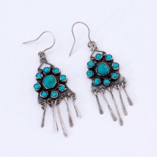 Antique Navajo Earrings Turquoise & Sterling Silver With Begay Family