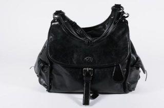 Francesco Biasia Black Leather Strap Flap Dual Pocket Zip Top Hobo
