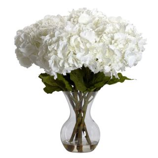 White Hydrangea with Vase Silk Flower Arrangement Free Shipping